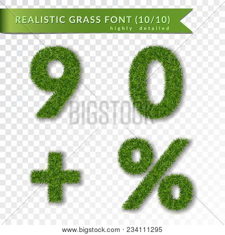 Grass Percent, Nine, Zero, Plus Set. Green Symbols, Isolated On White Transparent Background. Green