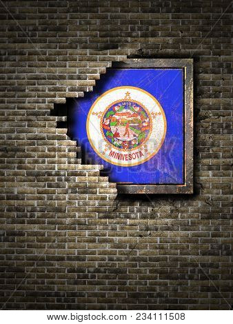 3d Rendering Of A Minnesota State Flag Over A Rusty Metallic Plate Embedded On An Old Brick Wall