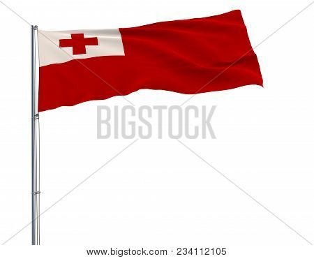 Isolate Flag Of Tonga On A Flagpole Fluttering In The Wind On A White Background, 3d Rendering