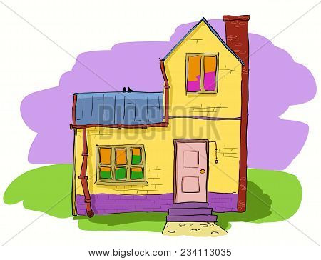 A Warm And Cozy Two Story Village House. Vector Hand Dawn Illustration.