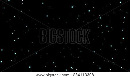 Night Sky With Blue Stars On Black Background. Dark Astronomy Space Template. Galaxy Starry Pattern