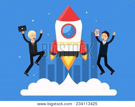 Concept Picture With Symbols Of Startup. Rocket And Happy Businessmen. Startup Rocket And Happy Busi