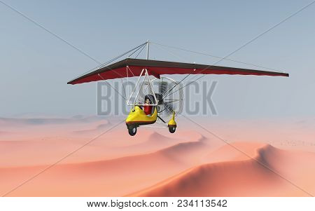 Computer Generated 3d Illustration With An Ultralight Trike Over A Sand Desert