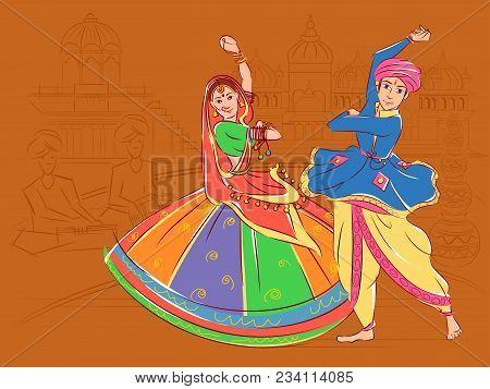 Vector design of Couple performing Garba folk dance of Gujarat, India poster