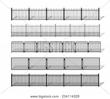 Various Simple Metal, Wrought Iron Or Steel Fence Silhouettes With Shadows. Horizontally Seamless Mo