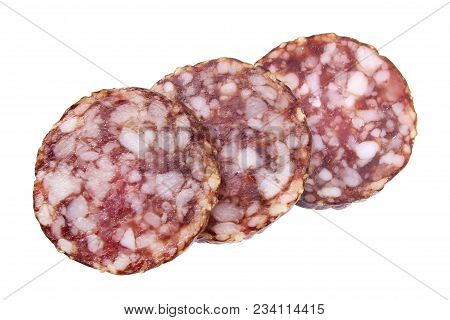 Sliced Salami Slices Closeup Isolated On White