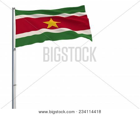 Isolate Flag Of Suriname On A Flagpole Fluttering In The Wind On A White Background, 3d Rendering
