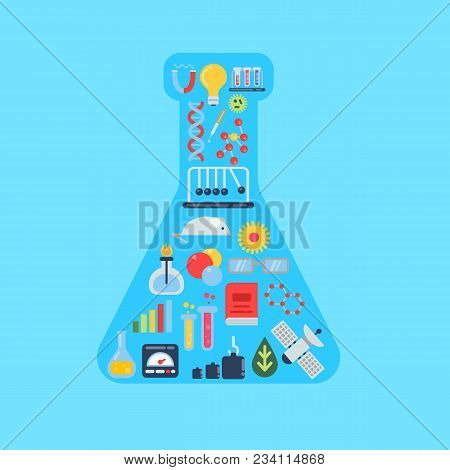 Vector Flat Style Science Icons In Form Of Chemical Vial Illustration. Medicine And Chemical, Biolog