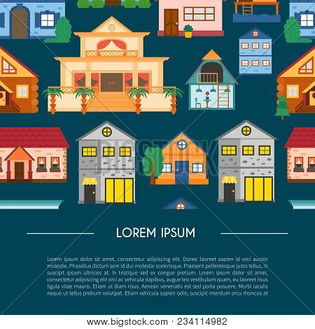 Vector Cartoon Rent Vacation Houses