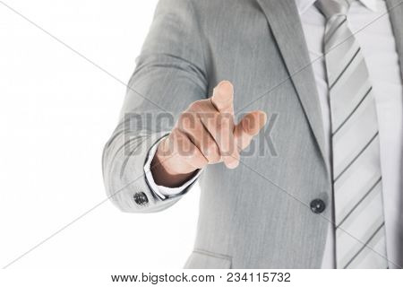 Pointing finger close-up shot of a caucasian man in a business suit