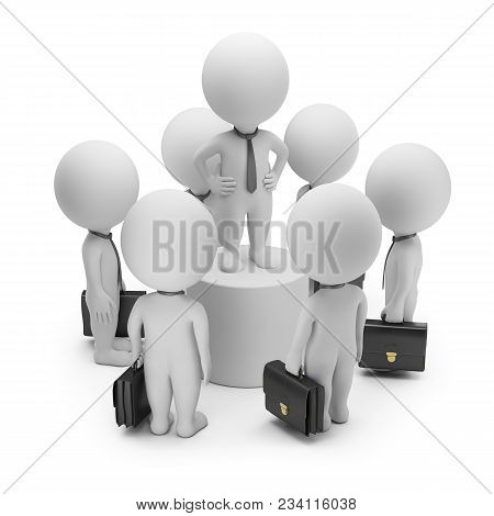 3d Small Person At The Center Of A Crowd Of Businessmen Talking On A Pedestal. 3d Image. White Backg