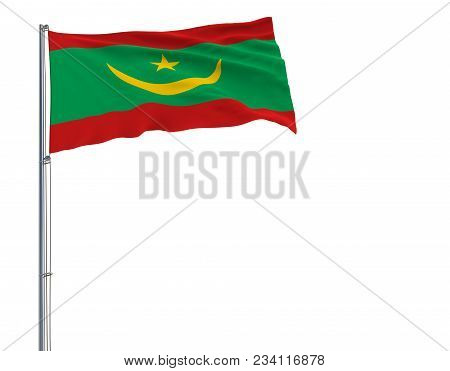 Isolate Flag Of Mauritania On A Flagpole Fluttering In The Wind On A White Background, 3d Rendering