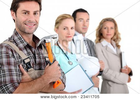 Four people illustrating different career options led by a handyman