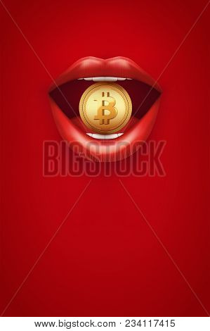 Poster Of Bitcoin Cryptocurrency. Woman Red Lips With Bitcoin. Concept Of Blockchain And Cryptocurre