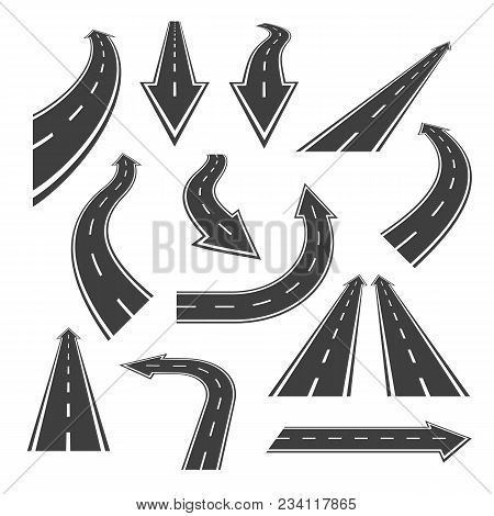 Arrow Road Set. Road Arrows With White Markings, An Illustrations  In A Form Of Various Turns, Direc