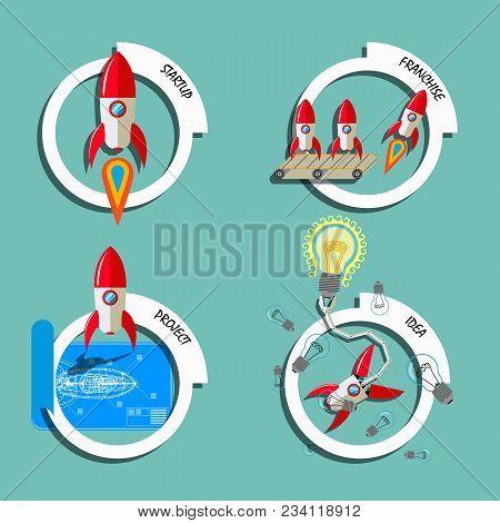 Rocket Business Flat Art Style Vector Set. Stock Illustration Of Start-up, Franchise, Project, Idea.