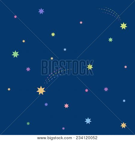 Beautiful Simple Colorful Stars In The Blue Night Sky Seamless Pattern