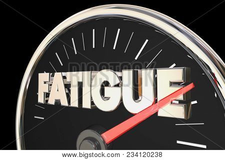 Fatigue Tired Low Energy Level Speedometer 3d Illustration