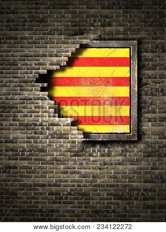 3d Rendering Of A Catalonia Spanish Community Flag Over A Rusty Metallic Plate Embedded On An Old Br