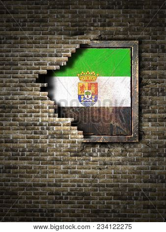 3d Rendering Of An Extremadura Spanish Community Flag Over A Rusty Metallic Plate Embedded On An Old