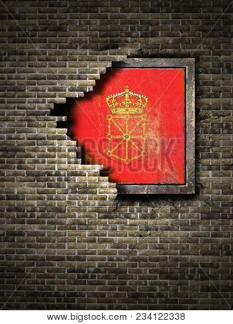 3d Rendering Of A Navarra Spanish Community Flag Over A Rusty Metallic Plate Embedded On An Old Bric