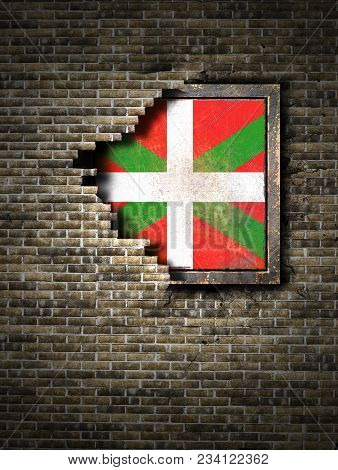 3d Rendering Of A Basque Country Spanish Community Flag Over A Rusty Metallic Plate Embedded On An O