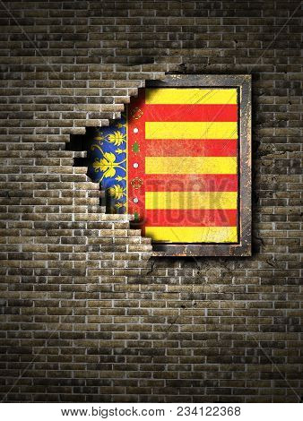 3d Rendering Of A Valencia Spanish Community Flag Over A Rusty Metallic Plate Embedded On An Old Bri