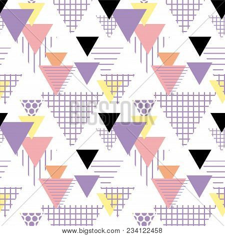 Seamless Pattern Geometric Elements Memphis Postmodern Retro Fashion Style 80-90s. Texture Shapes Tr
