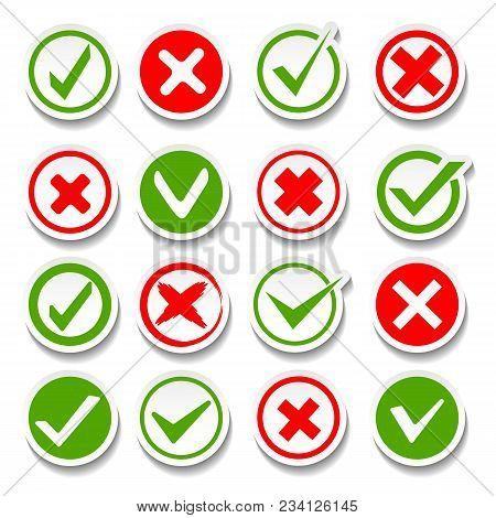 Wrong And Right Buttons. Vector True Or False Answer Signs, Good Success Yes And Bad Failure Not Sym