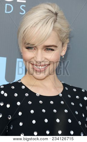 Emilia Clarke at the 23rd Annual Critics' Choice Awards held at the Barker Hangar in Santa Monica, USA on January 11, 2018.