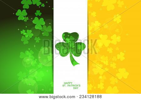 Vector Wide Abstract Green And Yellow Background For Happy St. Patrick's Day With White Stripe At Th