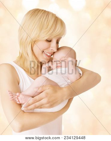 Mother And Sleeping Baby, Mom Hold Newborn Kid On Hands, Happy Woman With New Born Child Family Port