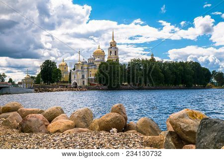 Monastery Of St.reverend Nilus On The Stolobny Island (nilova Pustyn), Tver Region. Russia. View Fro
