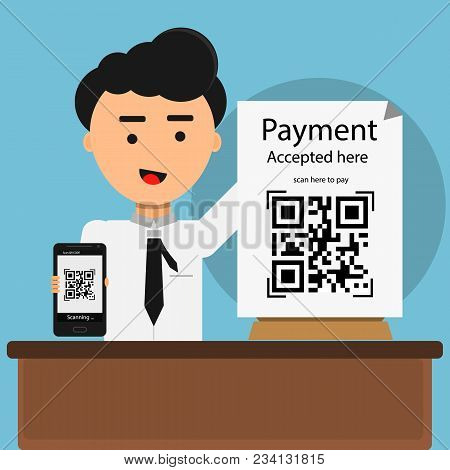 Qr Code Payment Accepted Here With Man Shows Mobile