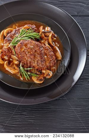 Hot Savory Juicy Salisbury Beef Steaks
