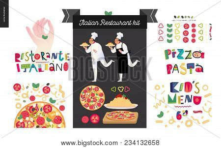 Italian Restaurant Set - Branding, Logo And Menu Constructor - Kit Of Restaurant Logo, Cooks And Wai