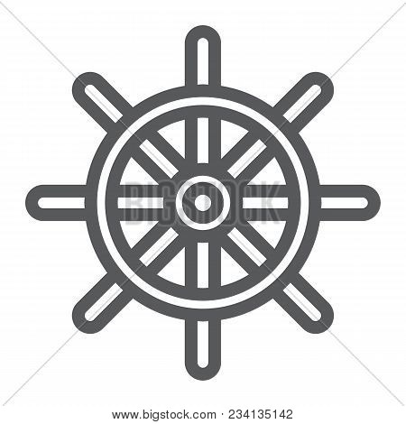 Ship Steering Wheel Line Icon, Navigator And Geography, Travel Sign Vector Graphics, A Linear Patter