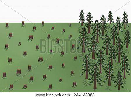 Deforestation Landscape, Big Trees And A Lot Of Stumps, Vector Illustration Horizontal
