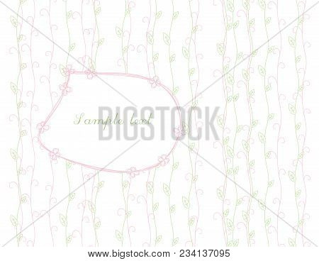 Naive Light Floral Background With Vertical Stems With Leaves And Swirls