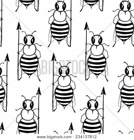 Seamless Pattern With Angry Killer Bees. Soldier Bee With Pike. Killer Bees Army. Vector Background