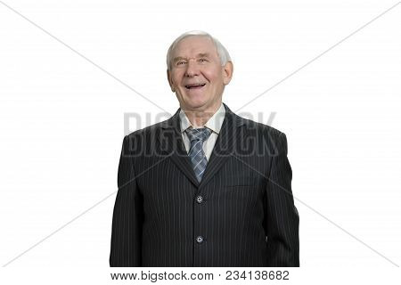 Portrait Of Laughing Businessman. Man In Suit Taking A Joke, Laughing Hard. White Isolated Backgroun