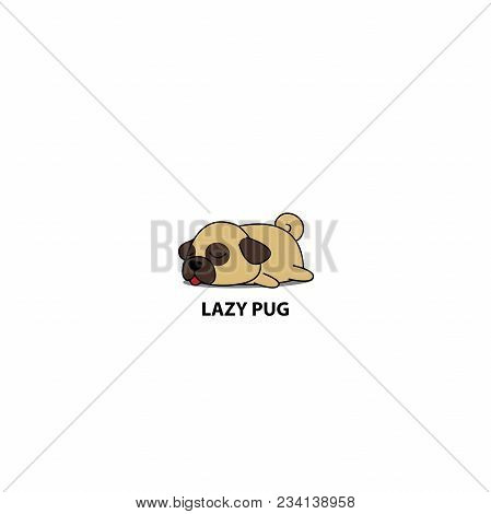 Lazy Dog, Cute Pug Sleeping Icon, Logo Design, Vector Illustration