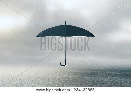Umbrella On Dull Sky Background. Protection Concept