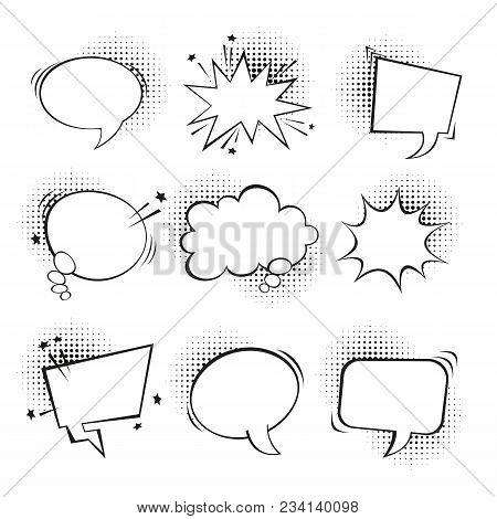 Collection Of Empty Pop Art Retro Bubble Speach, Vector Illustration