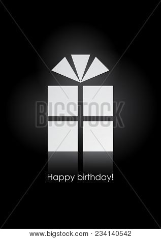 Birthday Greeting Card With A Symbolic White Present On A Black Background. Eps10 Vector
