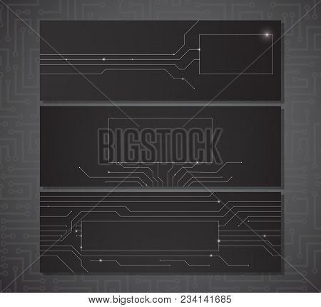 Three Black Horizontal Banners With A Place For Your Text With Electric Scheme Elements And Semicond