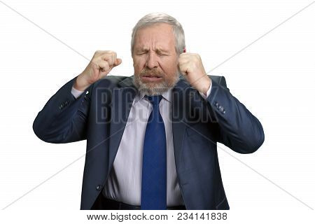 Mad Crazy Old Man Regrets Awful Mistake. Senior Businessman Made Investment Mistake. White Isolated