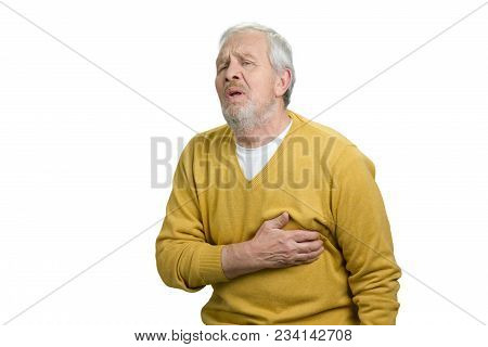 Old Grandpa Having Heart Pain. Old Man Suffering From Heart Attack. White Isolated Backgorund.