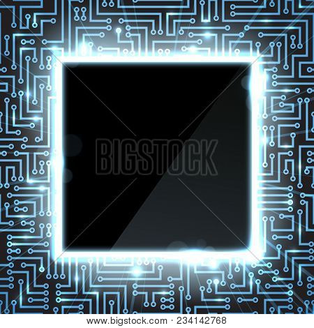 Computer Technology Background With Semiconductor Tracks And Digital Signals Shown As Blue Sparkles.