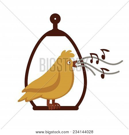 Canary Bird Cartoon Icon. Vector Canary Singing Notes Sitting On Cage Pole. Design For Animal Zoo Sh